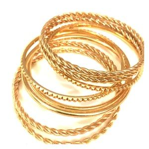 S/8 EUC gold tone J Crew bangle bracelets